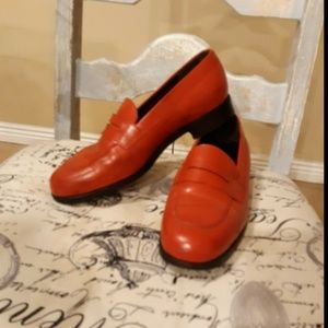 Tod's Red Leather Slip On Driving Moccasins Shoes,